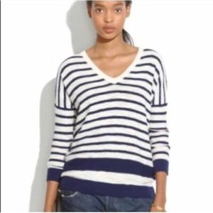 Madewell V-Neck Striped Slub Sweater Lightweight